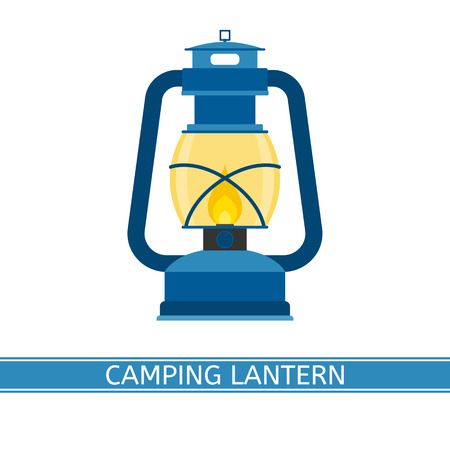 oil lamp: Camping retro gas lantern vector icon with glowing fire. Old antique lamp isolated on white background. Vintage oil lantern in flat design.