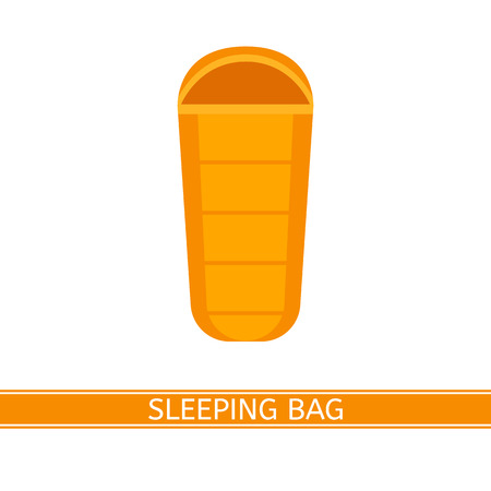 touristic: Vector illustration of sleeping bag. Camping icon in flat style isolated on white background.