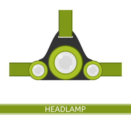 Camping headlamp icon vector illustration. Tourist LED headlight in flat style isolated on white background. Green colored hiking flashlight.
