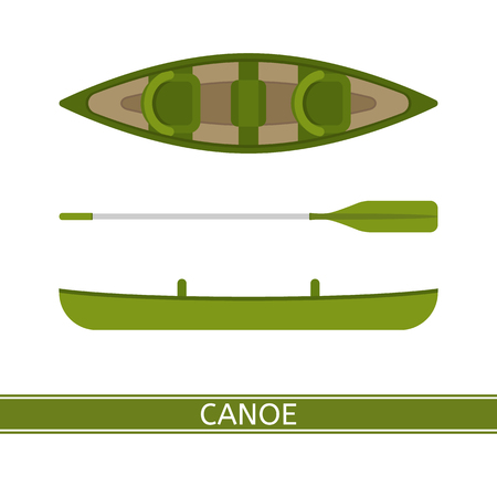 Canoe vector icon with paddles isolated on white background, in flat style.