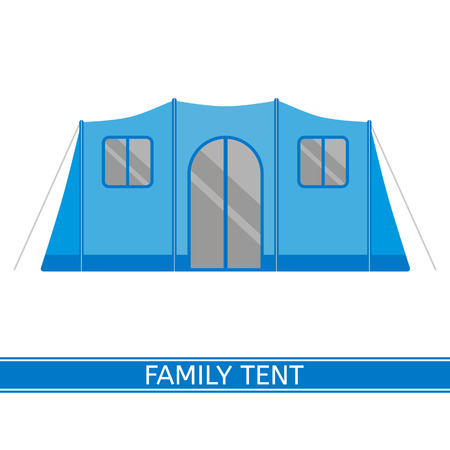 Camping tent vector pictogram. Toeristische familie tent geïsoleerd op een witte achtergrond in vlakke stijl
