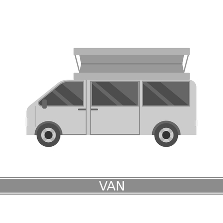 Vector illustration of camper van isolated on white background. Family RV caravan in flat style.