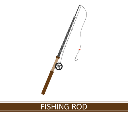Vector illustration of fishing rod, isolated on white background. Fishing pole in flat style. Vektorové ilustrace