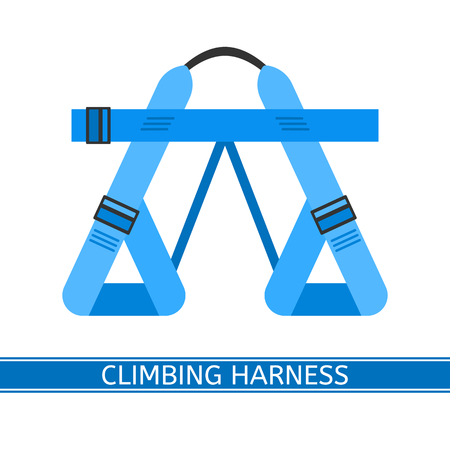 Vector illustration of climbing harness isolated on white background, flat style. Belay equipment for climbing, hiking, camping, mountaineering, sport.