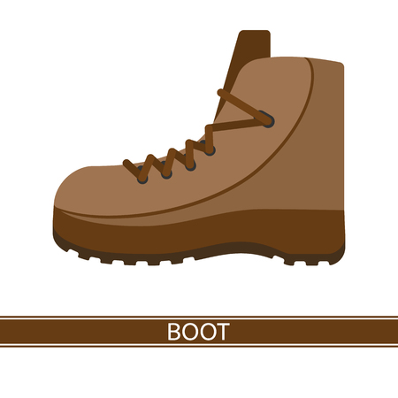 A Vector illustration of hiking boot isolated on white background. Leather camping shoes in flat style. Work footwear.