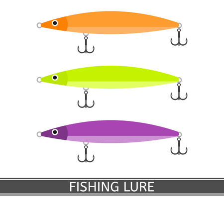 Vector illustration of fishing lure isolated on white background. Fish bait in bright colors in flat style
