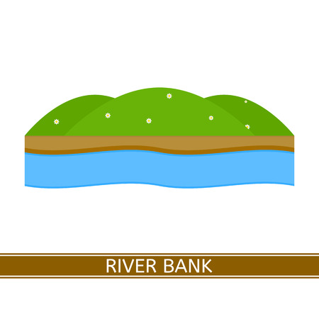 Vector illustration of river bank isolated on white background in flat style. Illustration