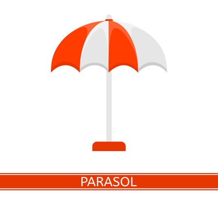 Vector illustration of parasol isolated on white background. Sunshade in flat style. Beach umbrella. Vacations and camping equipment. Illustration