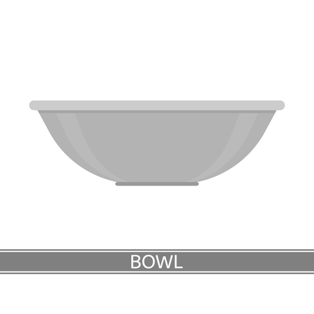 Vector illustration of steel bowl isolated on white background. Camping equipment for cooking.