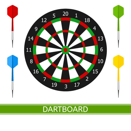 Vector illustration of darts and dartboard isolated on white background, in flat style.