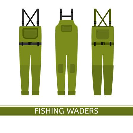 Ilustración del vector de aves zancudas de la pesca del stockingfoot aisladas en el fondo blanco. Ropa impermeable de caza en estilo plano. Ilustración de vector