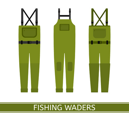 Vector illustration of stockingfoot fishing waders isolated on white background. Waterproof hunting clothing in flat style. Иллюстрация