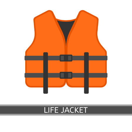 Vector illustration of orange life jacket isolated on white background, flat style.