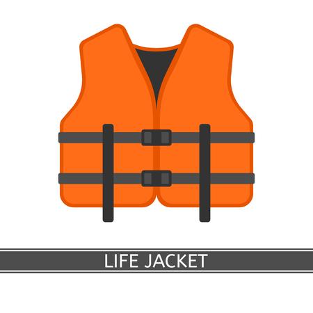 Vectorillustratie van oranje reddingsvest geïsoleerd op een witte achtergrond, vlakke stijl. Stockfoto - 90678506