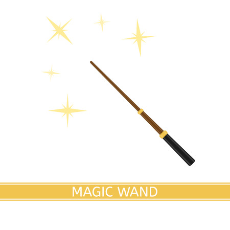 A Vector illustration of magic wand with sparkles isolated on white background, in flat style.