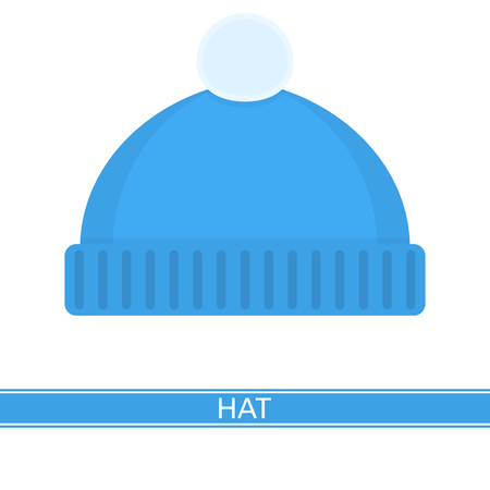 Vector illustration of warm winter blue hat with pompom isolated on white background, in flat style. Illustration