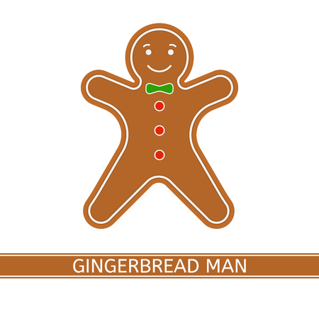 Vector illustration of smiling gingerbread man isolated on white background. Christmas cookie in flat style.