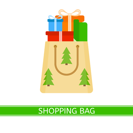 Vector illustration of shopping paper bag with presents isolated on white background. Christmas gifts in flat style.