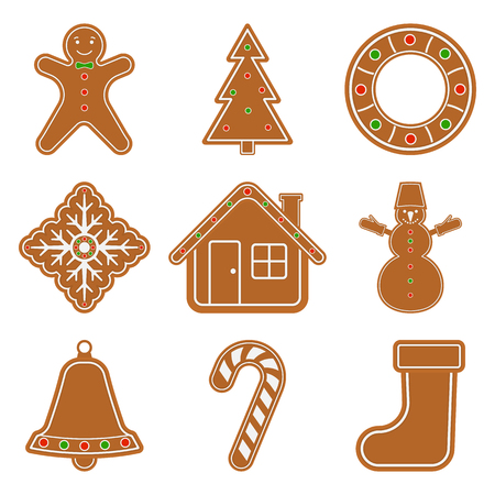 Vector illustration of gingerbread Christmas objects isolated on white background. Glazed cookie set in flat style.