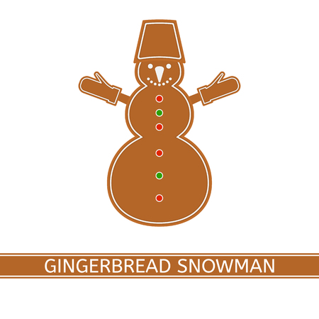 Vector illustration of gingerbread snowman isolated on white background. Christmas glazed cookie in flat style. Illustration