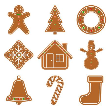 Illustration vectorielle de gingerbread objets de noël isolé sur fond blanc. emballage ensemble de biscuits dans un style plat Banque d'images - 91350148