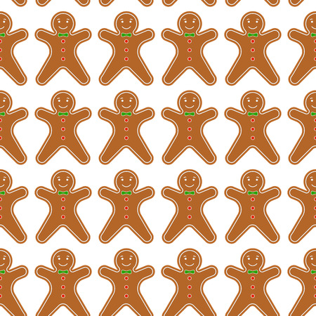 Vector illustration of baked gingerbread man on white background. Seamless pattern of Cristmas cookies.