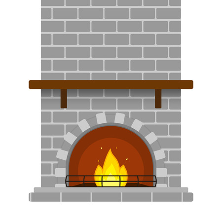 Illustration of grey brick fireplace isolated on white background, with empty shelf and burning fire in flat style.