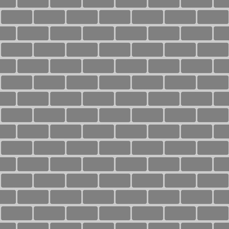 Illustration of grey brick wall in borderless pattern. Vectores