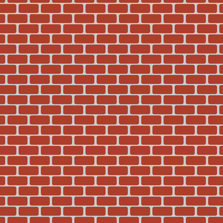 Vector illustration of red brick wall. Seamless pattern.