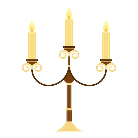 Vector illustration of vintage candelabrum isolated on white background. Candelabra in flat style. Glowing candles in chandelier. Vectores