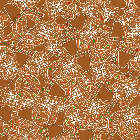 Vector illustration of baked Christmas cookies. Seamless pattern of gingerbread snowflake, wreath and bells. Holiday background.