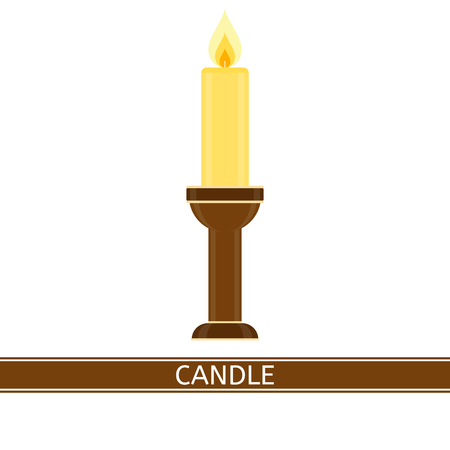 Vector illustration of glowing candle and candlestick isolated on white background, in flat style.
