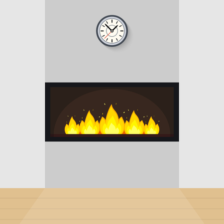 Vector illustration of modern fireplace built in the wall, with clock above and parquet floor. Vectores