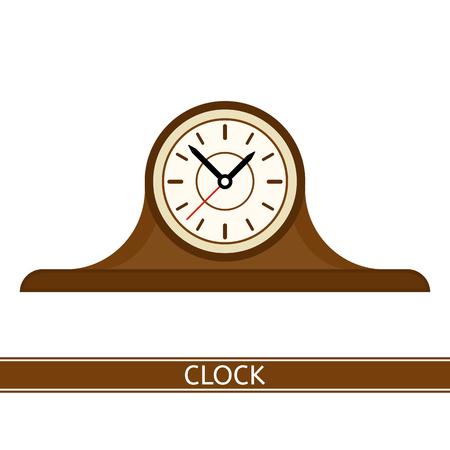 Illustration of old mantel clock isolated on white background.