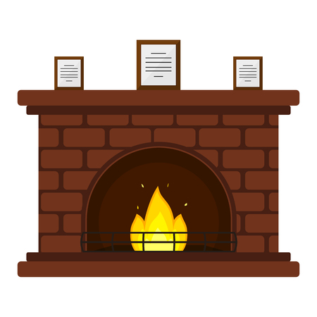 Illustration of red brick fireplace with framed documents, isolated on white background, in flat style. Stockfoto - 91754063
