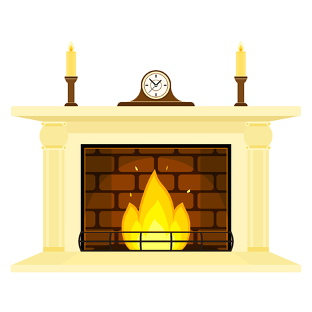 Vector illustration of fireplace isolated on white background, with candles and mantle clock. Burning fire in flat style. Illustration