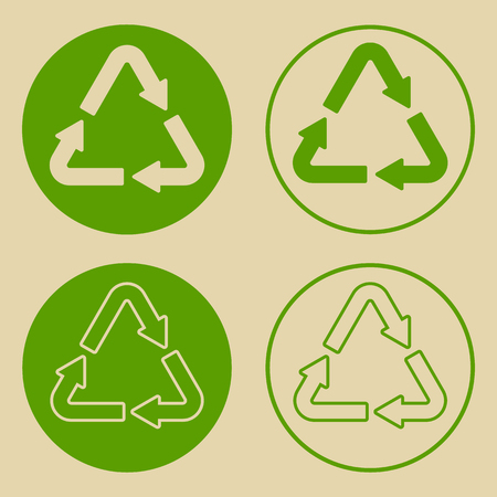 Vector illustration of green recycle symbol isolated on white background. Set of recycling sign, on paper, in flat style.