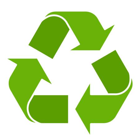 Ilustracja wektorowa zielony symbol recyklingu na białym tle. Recykling znak w stylu płaski.