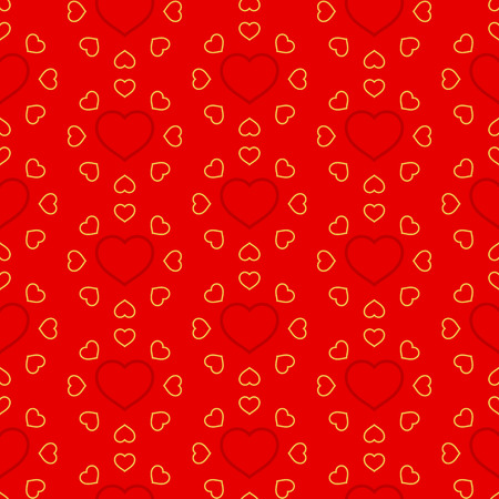 Vector illustration of hearts. Seamless pattern for Valentine's Day. Red background. Vectores