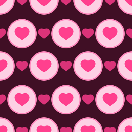 Vector illustration with pink hearts. Seamless pattern for Valentine's Day. Romantic background.