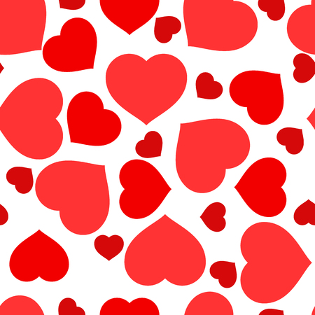 Vector illustration with red hearts. Seamless pattern for Valentine's Day. Romantic background. Vectores
