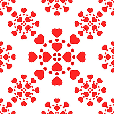Vector illustration with red hearts. Seamless pattern for Valentines Day. Romantic background.