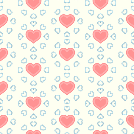 Graphic illustration with pink hearts in seamless pattern for Valentines Day.