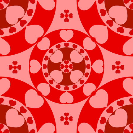 Graphic illustration with red hearts in seamless pattern for Valentines Day. Romantic background.