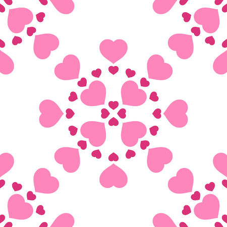 Graphic illustration with pink hearts in seamless pattern for Valentines Day. Romantic background. Vectores