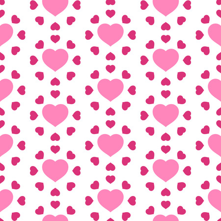 Vector illustration with pink hearts. Seamless pattern for Valentines Day. Romantic background. Vectores