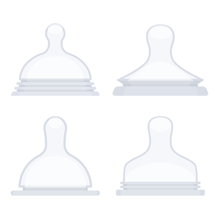 Vector illustration of silicone nipples for feeding bottles. Vectores