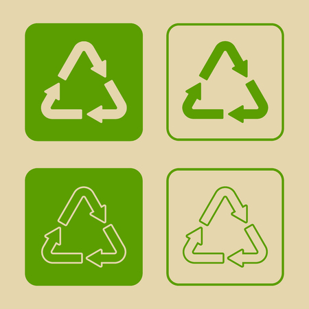 Vector illustration of green recycle symbol set. Vectores