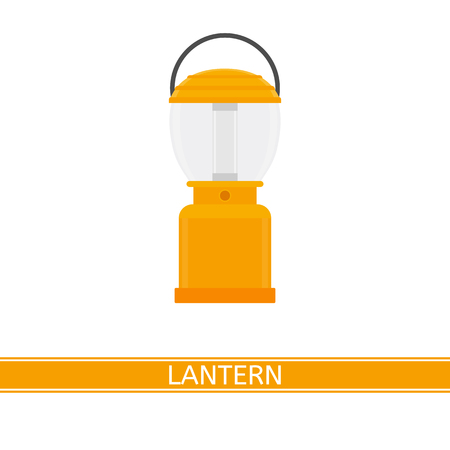 Camping lantern vector icon isolated on white background, in flat style Vectores