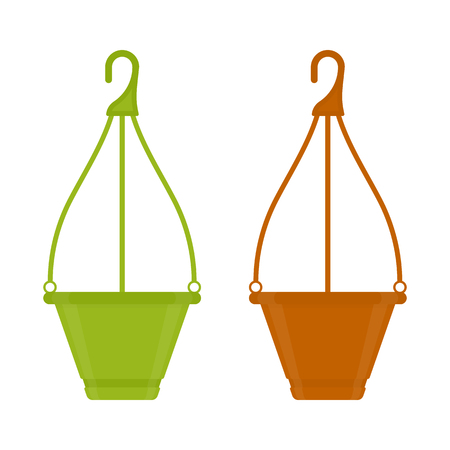Vector illustration of empty flower pots isolated on white background. Hanging clay flowerpot in flat style. Gardening equipment